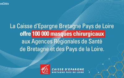 La Caisse d'Epargne Bretagne Pays de Loire donne 100 000 masques chirurgicaux